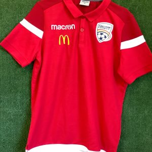 Adelaide United Macron red polo with white trim