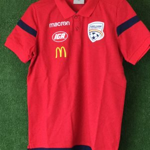 Adelaide United Red Polo with blue trim