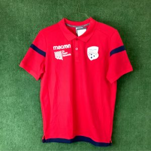 Adelaide United Macron red polo with blue trim SA Power