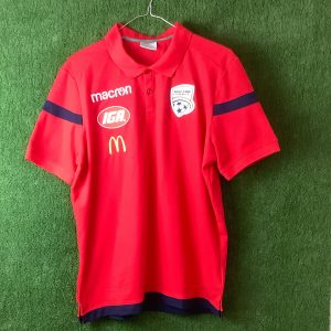 Adelaide United Polo shirt with blue stripe on sleeves