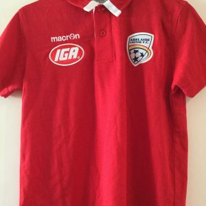 Adelaide United Red Cotton Polo with white trim on collar