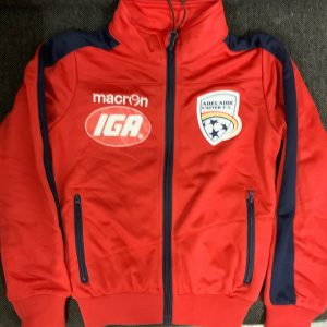 Adelaide United red long sleeve zip front jacket